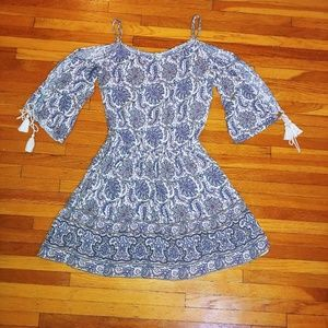 American Eagle boho open sleeve tassel dress